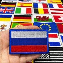 Флаг страны вышитые липучки патч Россия Испания Турция Франция ЕС Тактические Военные патчи армейский рюкзак ткань украшения