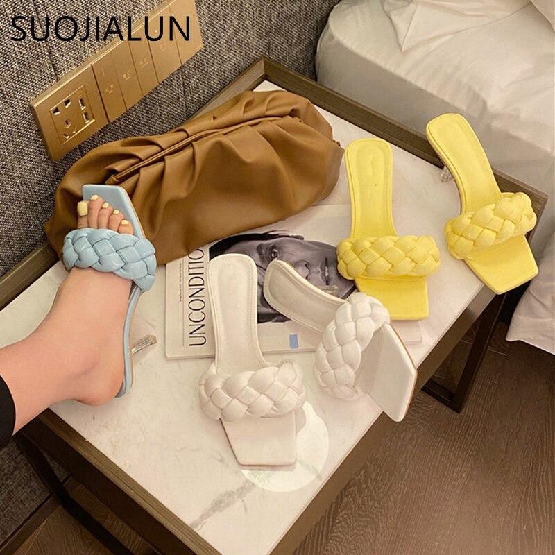 SUOJIALUN 2020 Summer Women Slipper Ladies Elegant Weave Sandal High Quality Thin High Heel Slip On Women Dress Slides Shoes