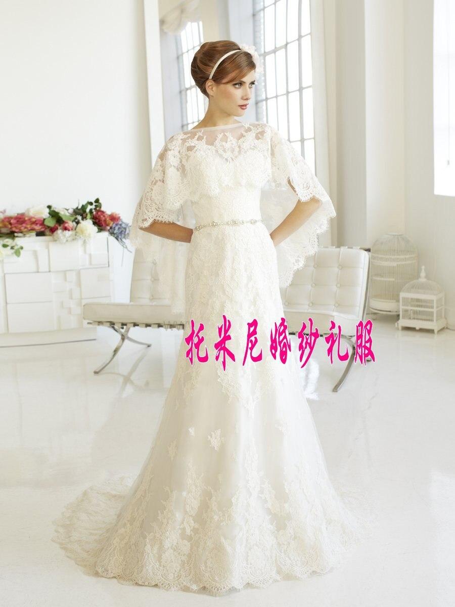 Batwing Sleeve Lace Appliques Crystal Sashes Mermaid Wedding Dress 2015 Vestido De Novia Bridal Birde Dresses Sexy Casamento