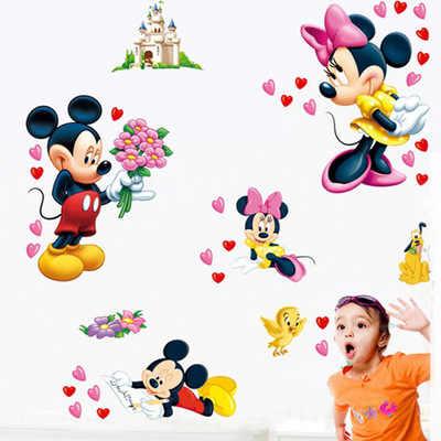 Nóng Chuột Mickey Minnie Mouse Hoạt Hình Dán Tường Phòng Trẻ Em Mầm Non Trang Trí DIY Dán Bức Tranh Tường Nhựa Vinyl Có Thể Tháo Ra Dán Tường