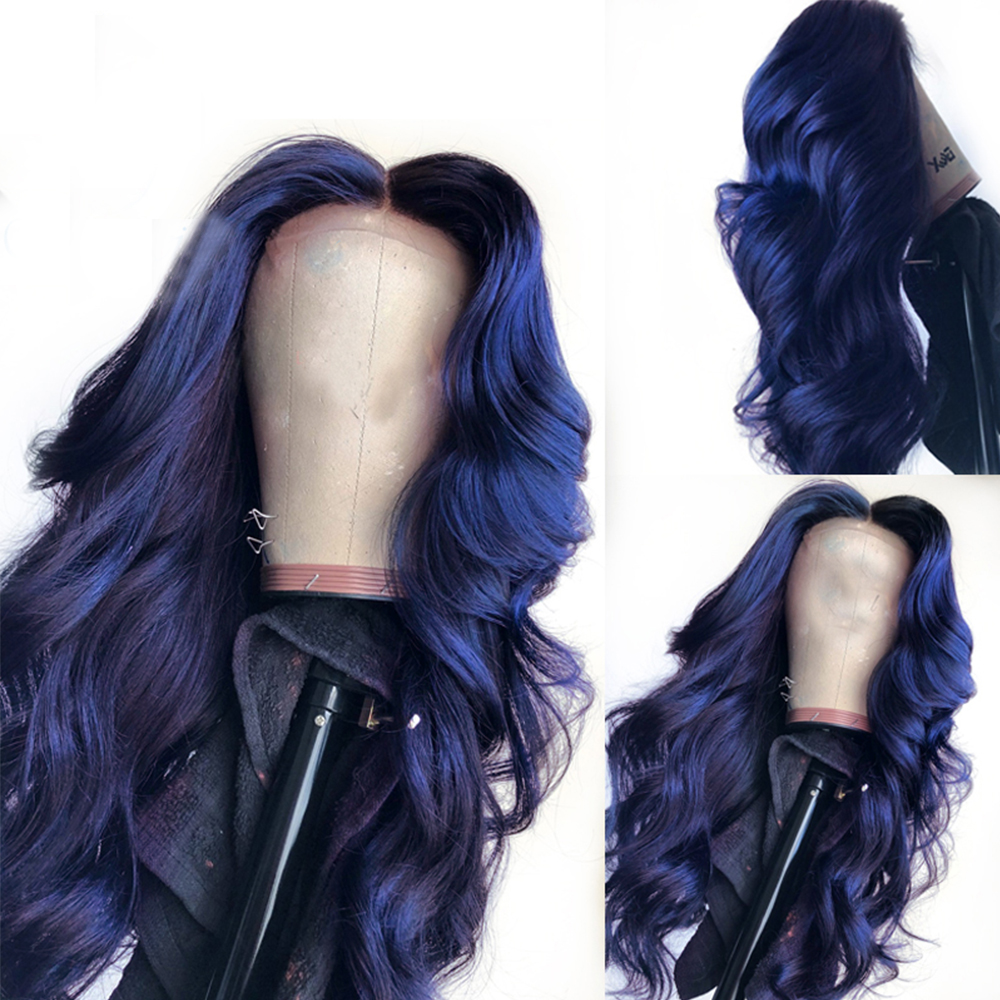Eversilky Brazilian Dark Blue 13x4  Lace Front Wigs With Baby Hair Pre Plucked For Women Body Wave Remy Human Hair Wig Bleached