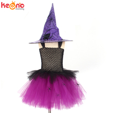 Tutu-Dress Costume Kids Spider-Girls Party Cosplay Carnival Purple Children with Hat