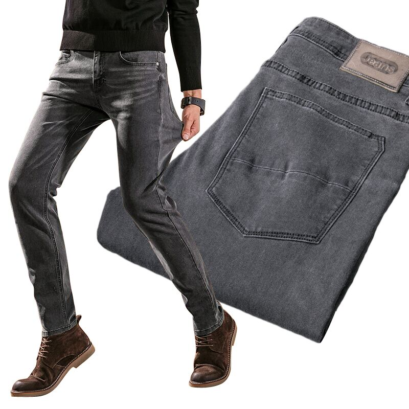Classic Men's Stretch Jeans 2020 New Fashion Casual Slim Fit Smoke Gray Denim Trousers Male Brand Pants Blue Black