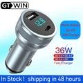 GTWIN 36 Вт 3.1A автомобильное зарядное устройство с двумя портами USB для быстрой зарядки QC телефон зарядное устройство адаптер для iPhone 12 11 Pro Max 6 7 ...