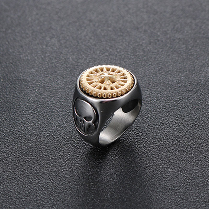 OQEPJ Punk Gold Black Cross Gear May Rotate With Skull Rings Stainless Steel Silver Color Charm Men Ring High Quality Jewelry in Rings from Jewelry Accessories