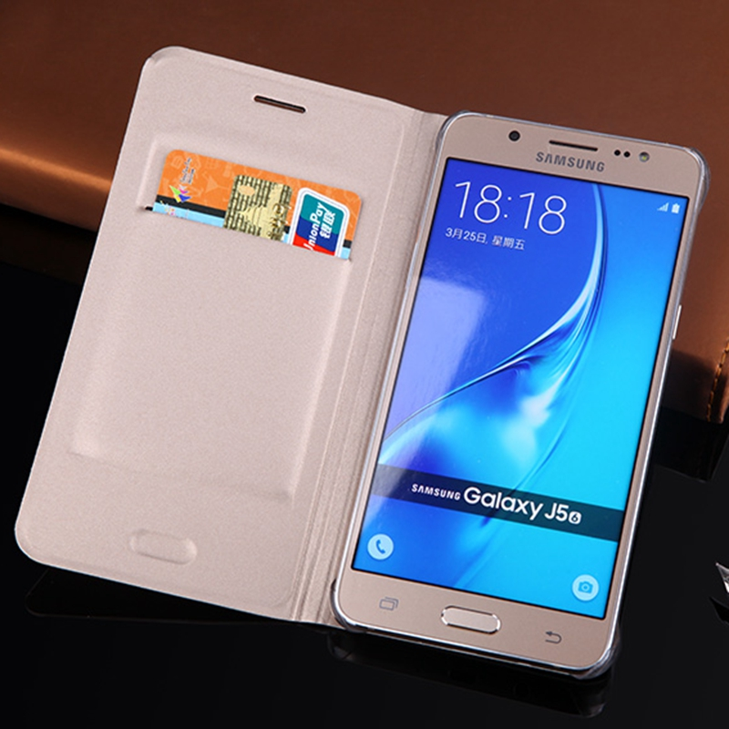 Slim Leather Wallet Case Flip Cover Med Kortholder Telefon Bæreveske Maske For Samsung Galaxy J5 2016 J510 J510F J510H J510M