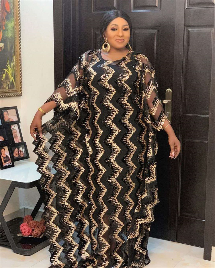 2020 Summer Sexy African Women Sequined O-neck Plus Size Long Dress