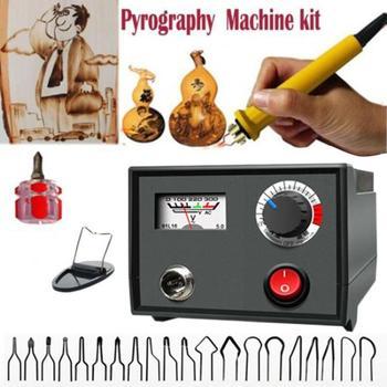 1Kit 220V Wood Burner Pyrography Pen Burning Machine Burning Soldering Irons Crafts Tool Set UK Plug