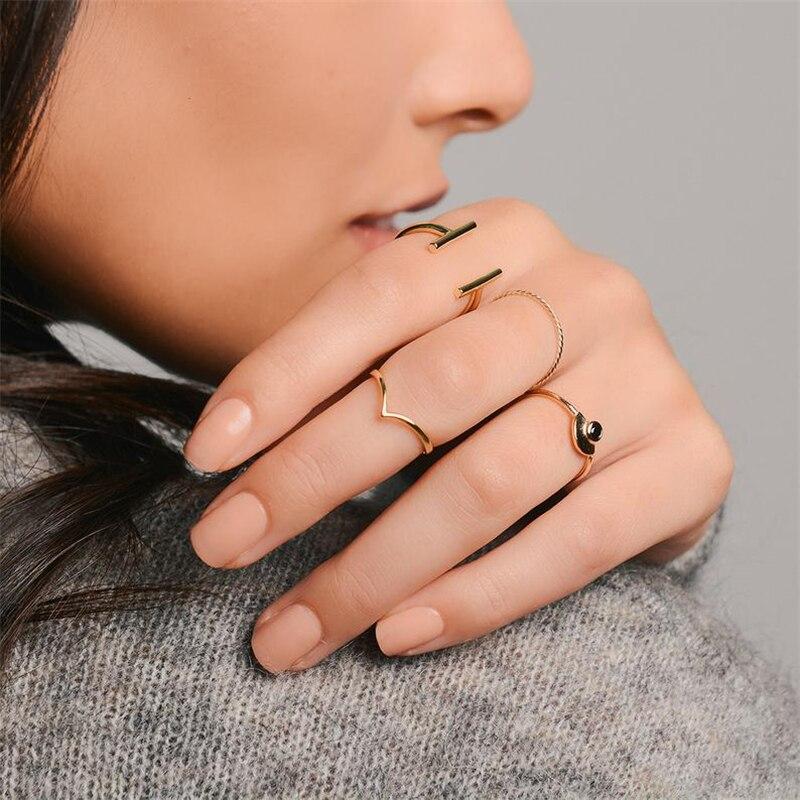 ROXI Simple mince 925 en argent Sterling anneaux pour les femmes Anti-allergie lisse Couple anneaux de mariage V forme lisse mince Knuckle anneaux