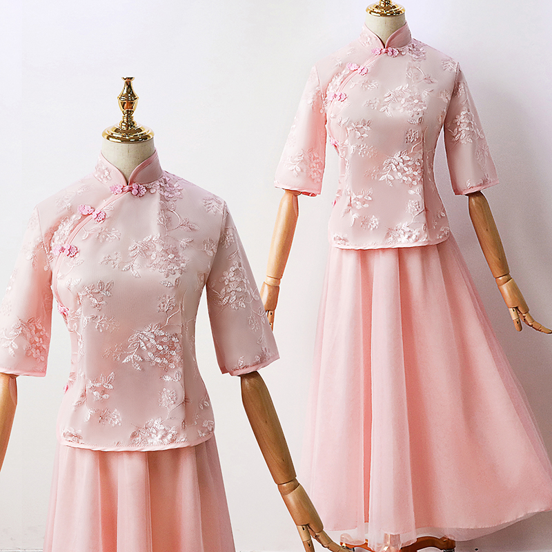 2pcs Set Tulle Pink Bridesmaid Elegant Dress Women for Wedding Party Tea-length Vintag Embroidery Cheongsam Sexy Prom Vestidos