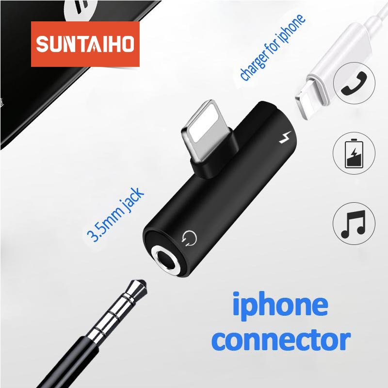 Audio Headphone Charging Dual Adapter Splitter <font><b>2</b></font> <font><b>IN</b></font> <font><b>1</b></font> For <font><b>iPhone</b></font> 7 8 11 X XR XS For 3.5mm Jack to Earphone AUX <font><b>Cable</b></font> Connector image