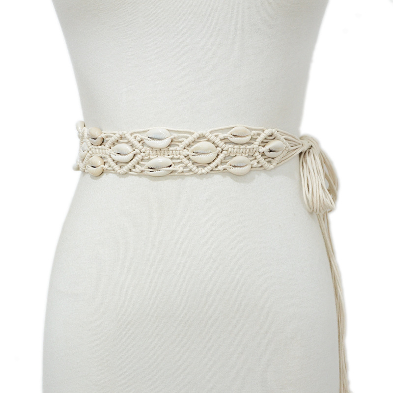 Boho Ethnic Style Colorful Shell Braided Belt Elegant Casual Wax Rope Hand-beaded Thin Waist Rope Ladies Waistband VKAC1016