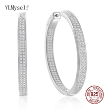 все цены на 3.5 CM diameter Real 925 sterling silver hoop earrings Attractive jewelry Micro Pave CZ Stones Round Silver earring for women онлайн