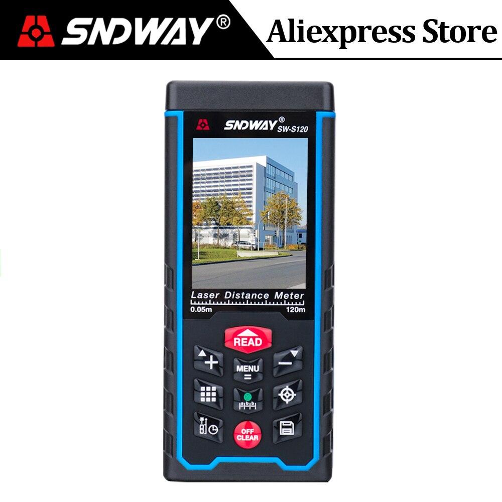 SNDWAY Laser-entfernungsmesser Farbe LCD Laser-distanzmessgerät 120M 100M 80M 70M 50M Range Finder digitale Winkel Lineal maßband