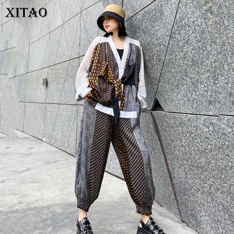 XITAO Two Piece Set Women Fashion False Two Piece Top Patchwork Elastic Waist Pocket Summer Goddess Fan Casual Pants GCC3784