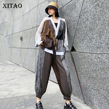 XITAO Two Piece Set Women Fashion False Top Patchwork Elastic Waist Pocket Summer Goddess Fan Casual Pants GCC3784 - discount item  27% OFF Women's Sets