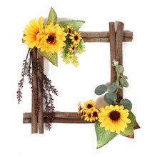 Faux Floral Decorative Hanging Ornament Wooden Frame Artificial Sunflowers Decorations Wall Window Wedding Parties Home Decor(China)