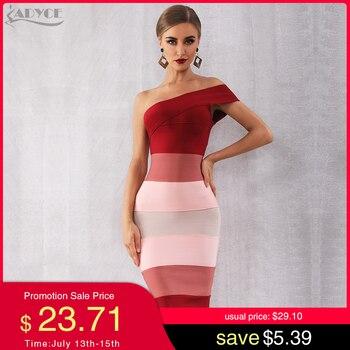 цена на Adyce 2020 New Summer Women One Shoulder Bandage Dress Vestidos Sexy Sleeveless Midi Club Dress Celebrity Evening Party Dresses