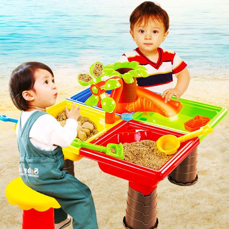 Table de plage pour enfants bébé jouant au sable outils de dragage enfants jouant au sable jouets en plein air puzzle activités parent-enfant ensemble cadeaux