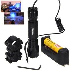 Q5 t6 led 전술 사냥 손전등 무기 총 빛 + 원격 스위치 + 18650 충전식 배터리 + 소총 범위 총 마운트 + 충전기