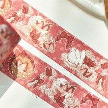 1. См* 5 м Kawaii крем сладкий клубничный торт милый кролик розовый бант лента девичье Сердце Декор васи лента DIY скрапбукин маскирующая лента