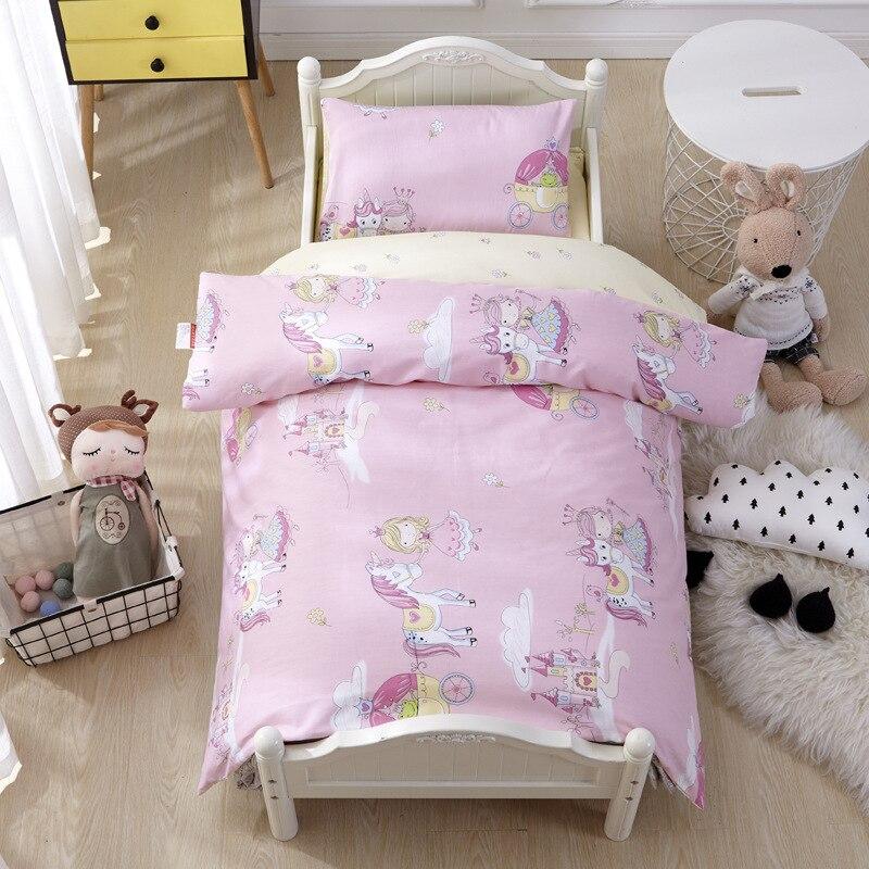 3Pcs/set Kindergarten Bedding Set Crib Bed Linen Kit Baby Bedding Set Includes Pillowcase Bed Sheet Duvet Cover Without Filler