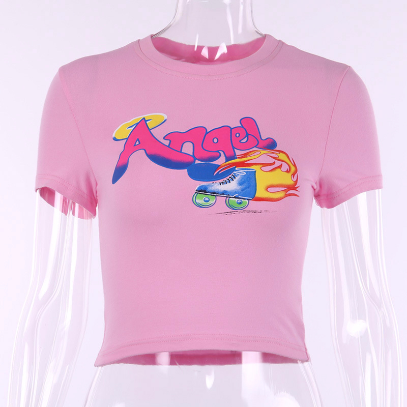 Hot Sexy O Neck Angel Letter Print short Sleeve T shirt Crop Top Women Summer Fashion Casual Slim T Shirt Female Streetwear Tees in T Shirts from Women 39 s Clothing