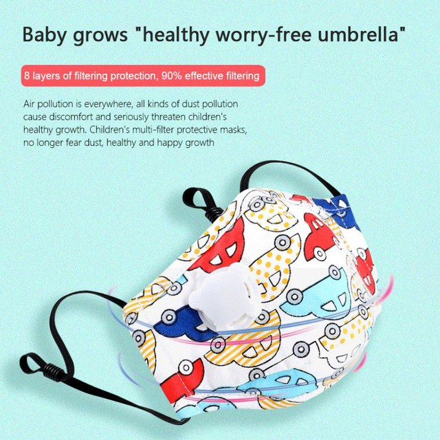 Children Mask With Breath Design Replaceable Filter Anti Dust Mouth Mask PM2.5 Respirator Kids Face Mask 4