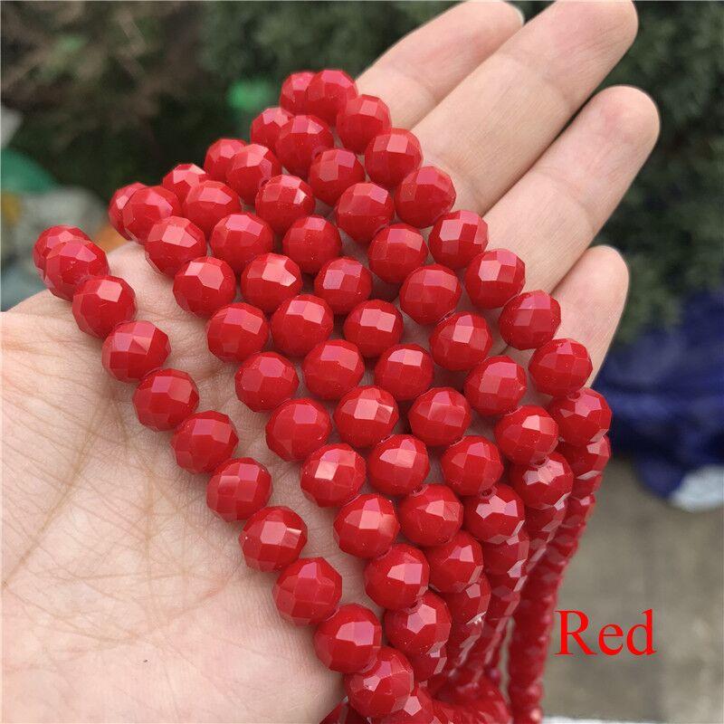 3X4/4X6/6X8/8X10 мм хрустальные бусины Рондель стеклянные бусины граненые хрустальные бусины для изготовления ювелирных изделий Аксессуары перевод Diy - Цвет: Red