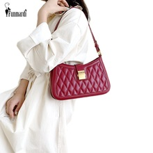 FUNMARDI Classic Diamond Lattice Shoulder Bags Wide Strap Designer Women Red  Black Crossbody Brand Lock Flap Bag WLHB2047