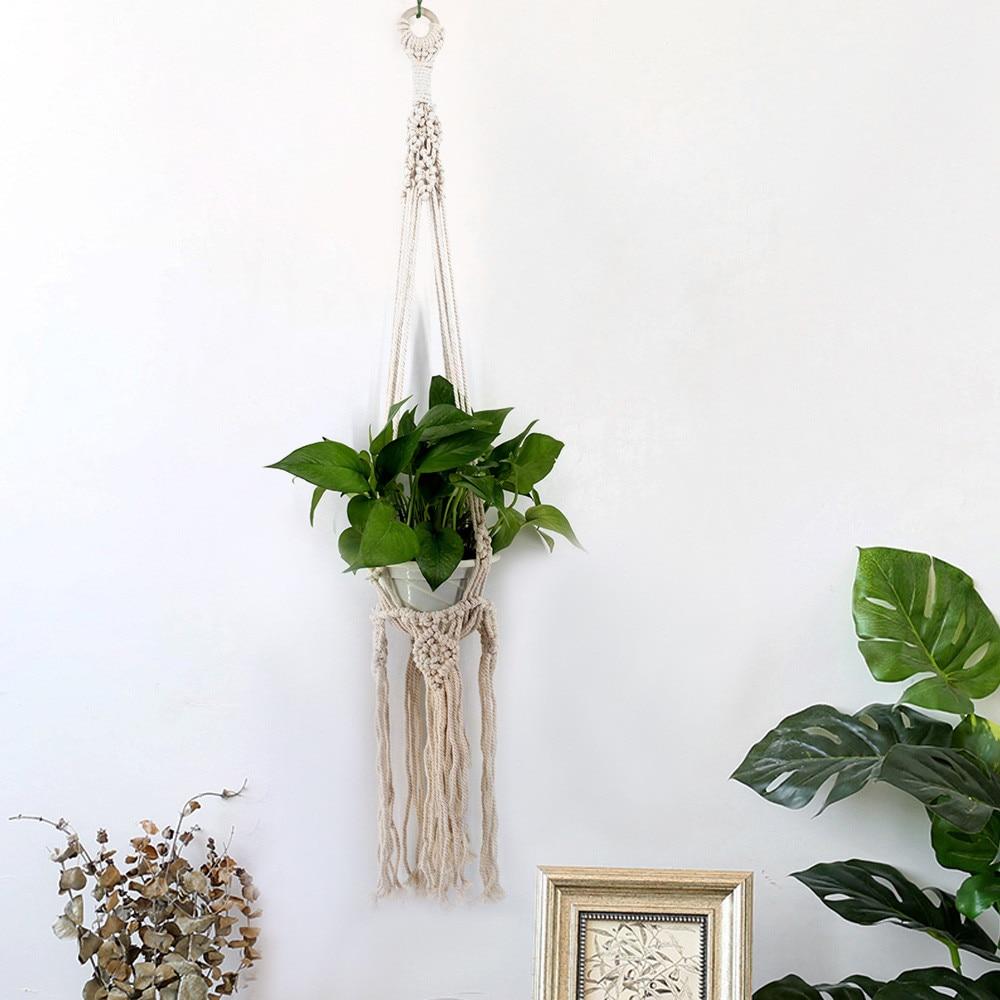 Uzinb Flower Pot Titular de Cuerda Colgando de la Mano-Tejidas Plantas Colgantes Canasta Bolsa Bohe Jard/ín Suministro a Plantas Percha