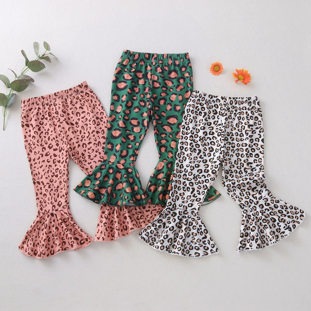 Leopard Printed Wide-Leg Flare Pants for Girls 1