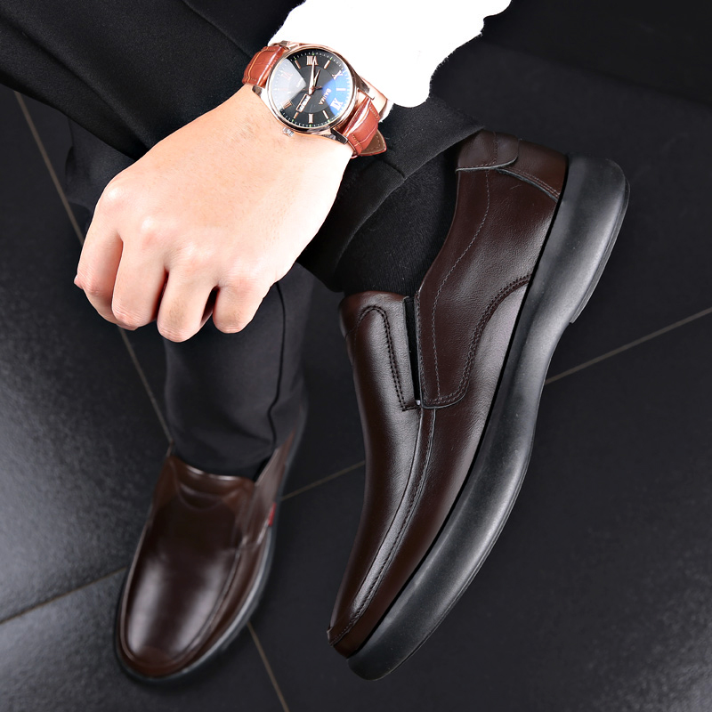 2021 Men's Genuine Leather Shoes 38-47 Head Leather Soft Anti-slip Rubber Loafers Shoes Man Casual Real Leather Shoes