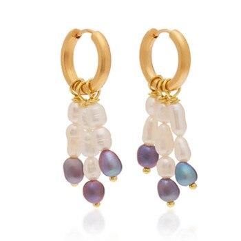 Freshwater baroque Pearl Earrings For Women Long Golden Cowrie Shell Earings Boho Jewelry oorbellen pendientes mujer moda aretes
