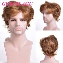 GURUILAGU короткие волнистые мужские парики коричневый синтетический парик ворсистый Стиль натуральные парики для мужчин многослойный Коспле...