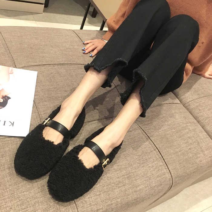 2019 г. Новая зимняя повседневная обувь на меху женская обувь на плоской подошве на низком каблуке Тонкие Туфли с пряжкой и закрытым носком женская обувь