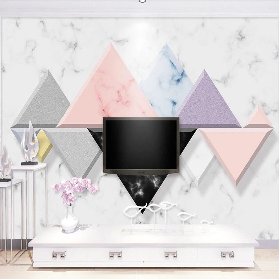 Drop Shipping Custom 3D Wallpaper Mural 3D Stereo Nordic Minimalist Stone Pattern Geometric Background Wall Decoration