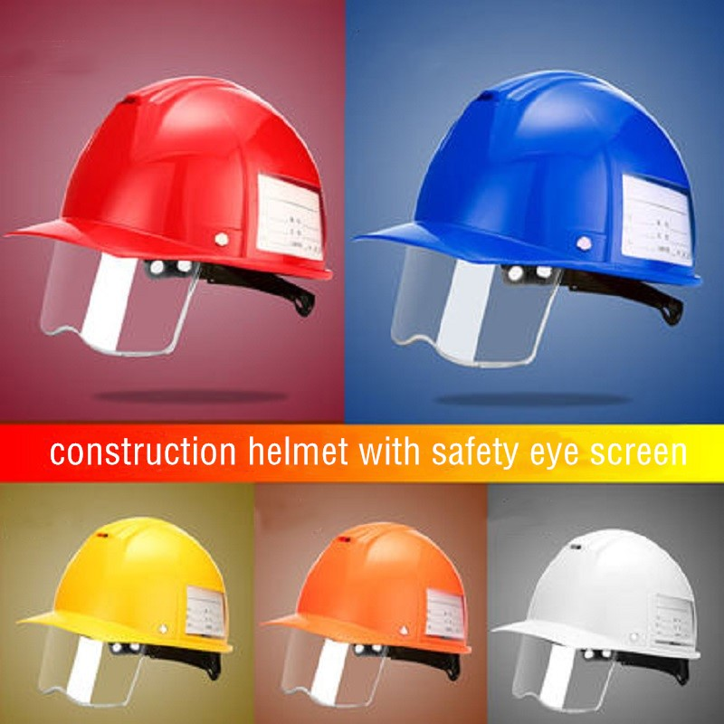 ABS Construction Safety Helmet With Retractable Transparent Protective Eye Screen Light Anti Strong Impact Metal-cutting Mining