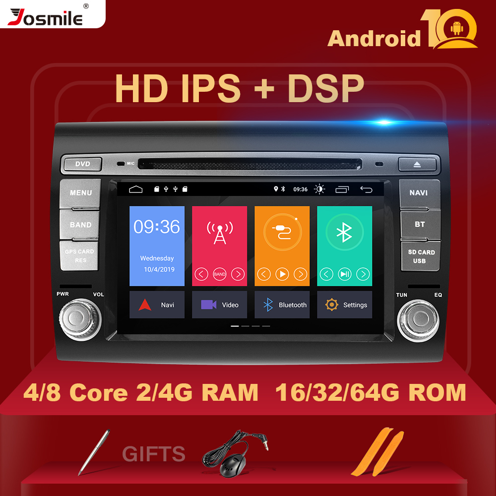IPS DSP 4G RAM Android 10 Car DVD Player For Fiat/Bravo 2007 2008 2009 2010 2011 2012 Radio GPS Navigation Tpms Rear Camera DVR