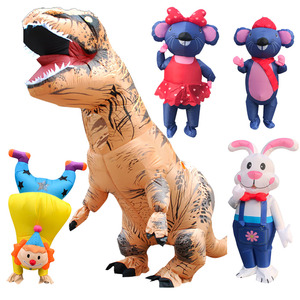 Image 3 - Inflatable Dinosaur Costumes Blowup Man Green Funny Mascot Party Unicorn Cosplay Dress Halloween costume for Women Adult Kids