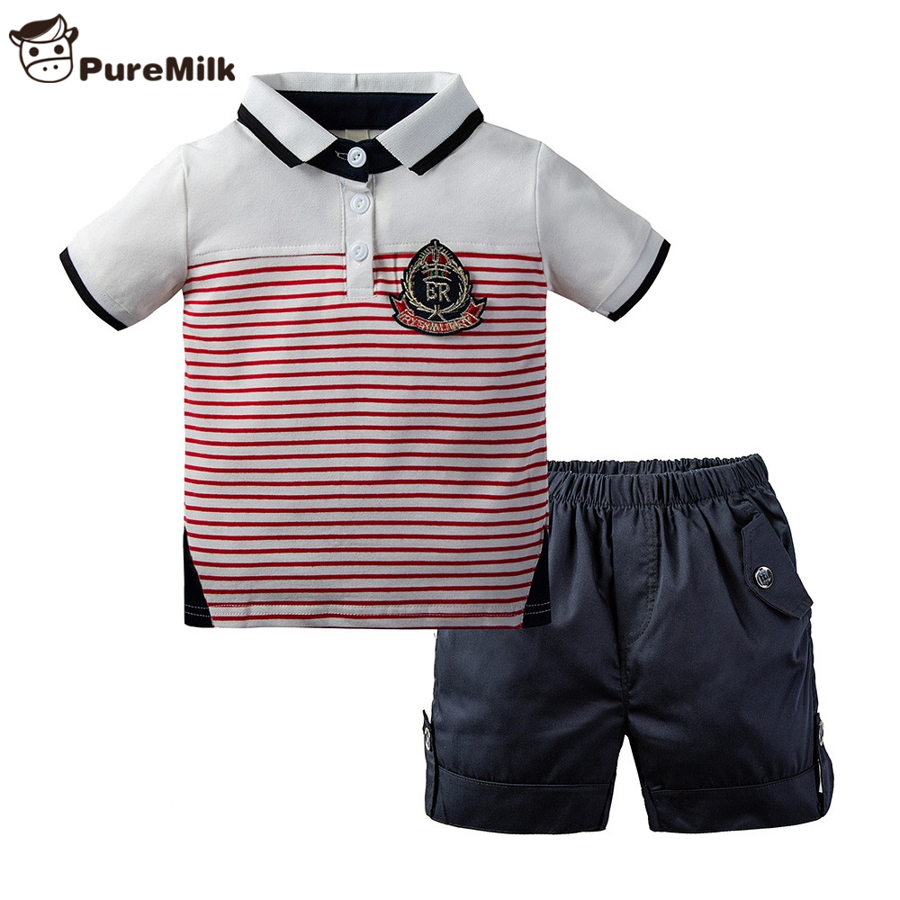PureMilk Summer Boys Clothing Set Casual Clothes 2PCS Set Stripted Top+ Short Kids Set
