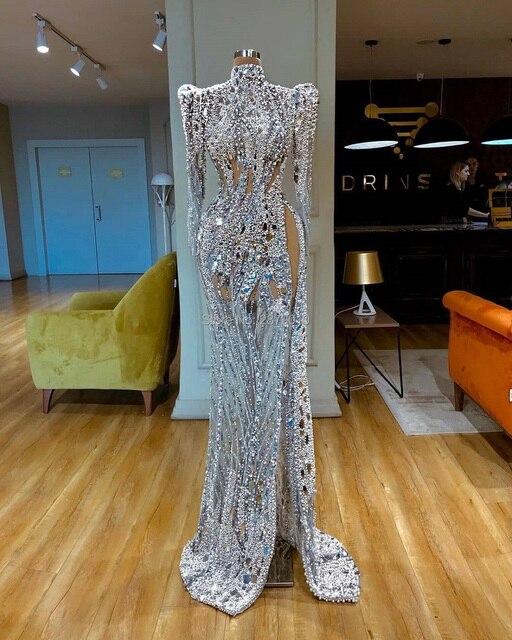 Elegante High Neck Meerjungfrau Abendkleid Mit Langen Ärmeln Bodenlangen Slit Perlen Prom Kleid Nahen Osten Saudi arabien Formale kleid