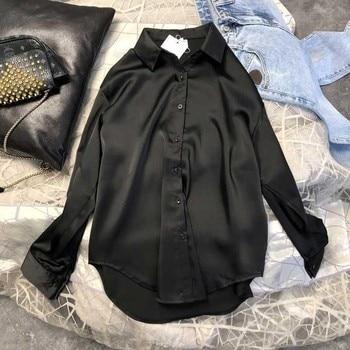 New Spring Autumn Women Fashion Long Sleeves Satin Blouse Vintage Femme Oversized Street Shirts Elegant Imitation Silk Blouse 2