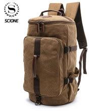 Scione mochila cilíndrica de gran capacidad para hombre, bolso de hombro de lona, resistente al agua, con Funda de cuero sólido, informal