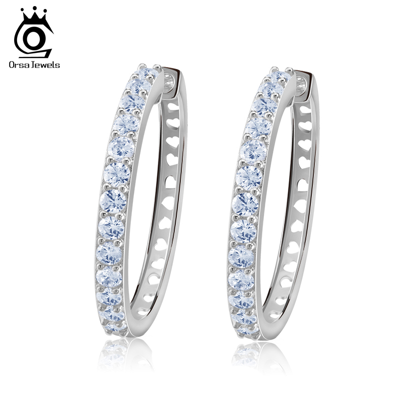 Pave Green Or Red 5A CZ Cubic Inside Outside Sterling Silver Hoop Earrings-34mm