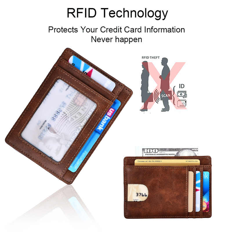DIENQI سليم جلدية حامل بطاقة الائتمان صغيرة رقيقة الأعمال id حافظة نقود بطاقة الائتمان قصيرة محفظة صغيرة للرجال حامل بطاقة جيب
