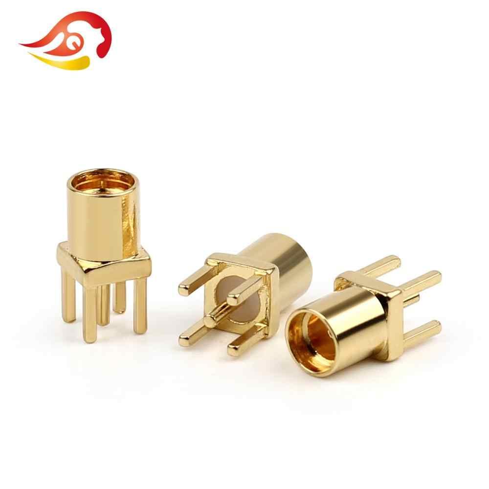 QYFANG 5Pcs MMCX Fêmea Pin Conector De Áudio PCB Mount Com 24K Banhado A Ouro Conector de Fio de Cobre De Solda Em Linha Reta adaptador de Metal