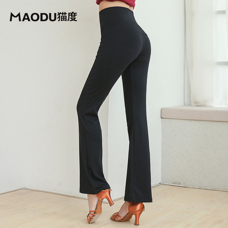High Waist Pants Slim Performance Wear Latin Dance Long Trousers For Women/female,Fashion Ballroom Costume Practice Pants MD9310