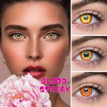 2 pcs/par lentes de contato vermelho série raia de sangue halloween cospaly lente de contato lentes loucas maquiagem olho contato uyaai 14.50mm