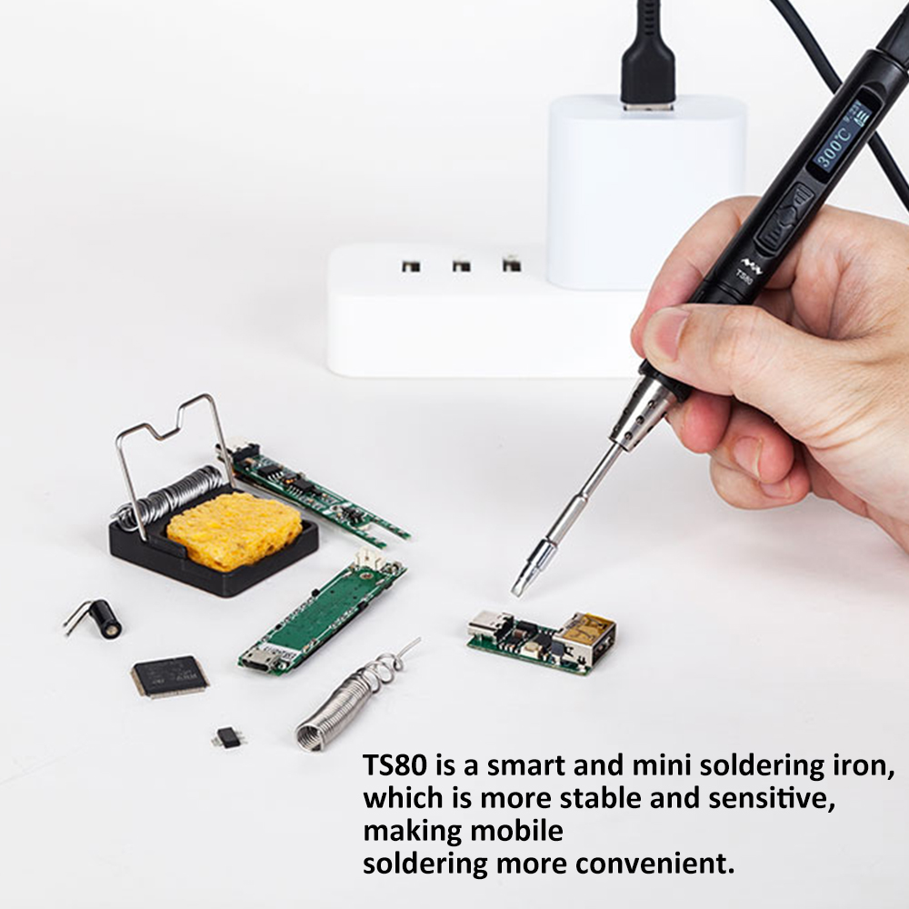 New Mini <font><b>TS80</b></font> Smart Soldering Iron Digital OLED Display USB Type-C Interface Soldering Pen Built-in STM32 Chip image